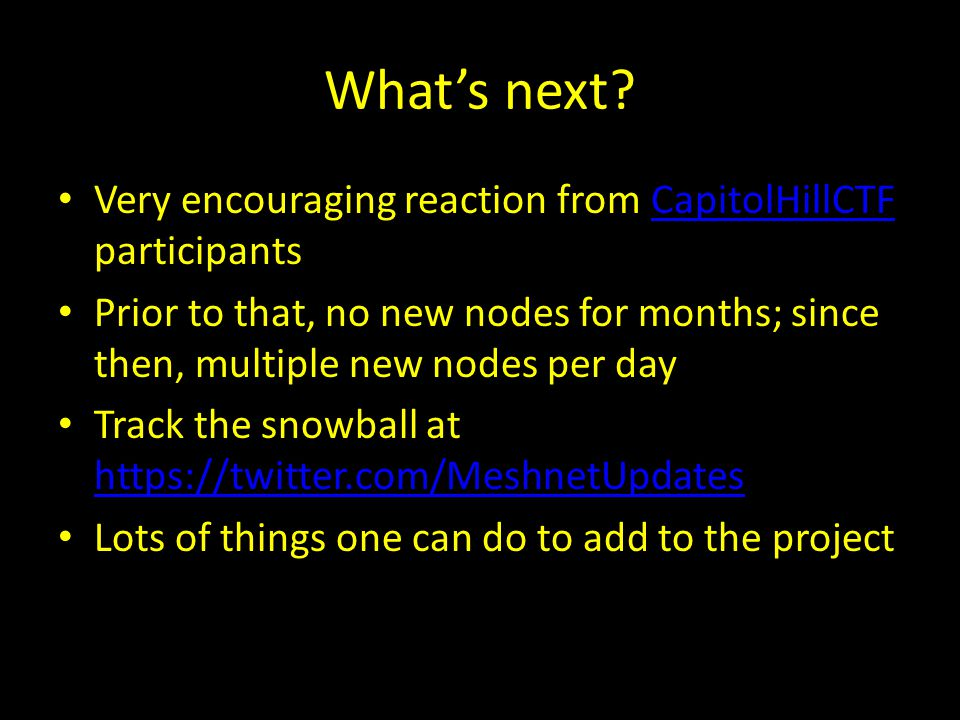 What's next Very encouraging reaction from CapitolHillCTF participants.