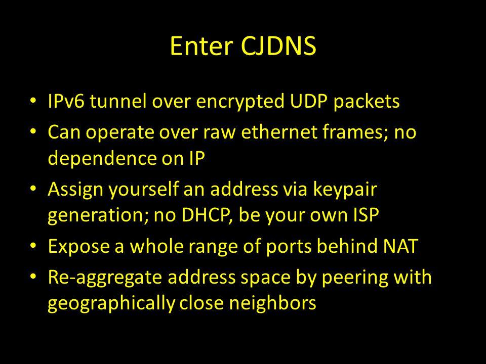Enter CJDNS IPv6 tunnel over encrypted UDP packets