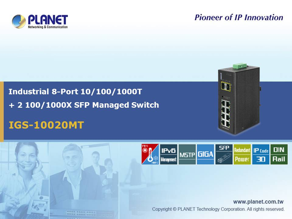 Industrial 8-Port 10/100/1000T + 2 100/1000X SFP Managed Switch