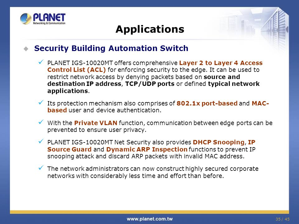 Applications Security Building Automation Switch
