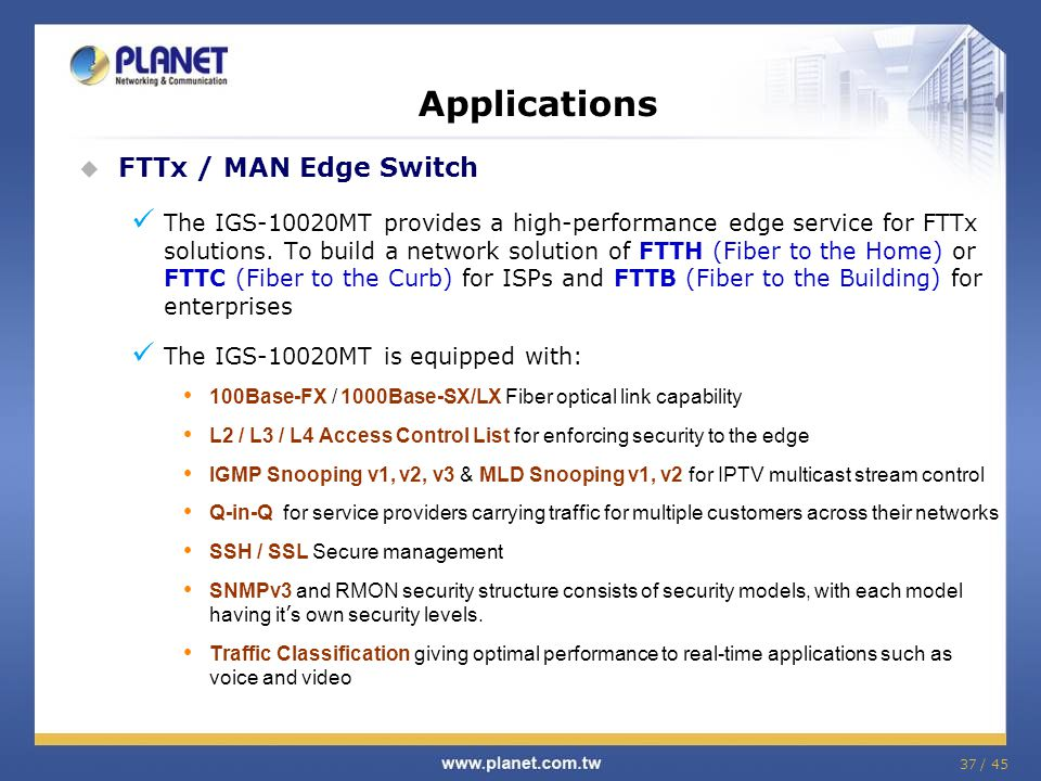 Applications FTTx / MAN Edge Switch