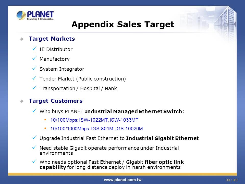 Appendix Sales Target Target Markets Target Customers IE Distributor