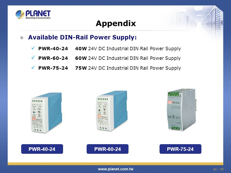 Appendix Available DIN-Rail Power Supply: PWR-40-24 PWR-60-24