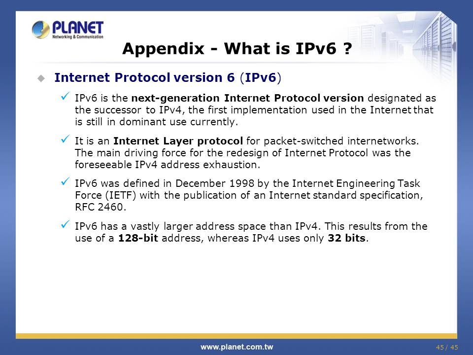 Appendix - What is IPv6 Internet Protocol version 6 (IPv6)