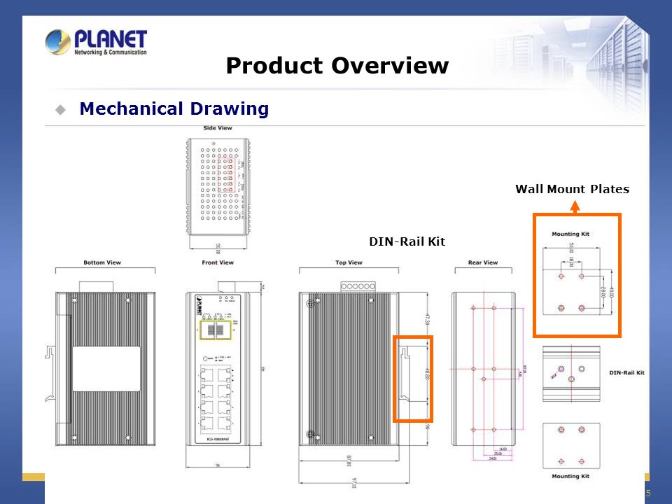 Product Overview Mechanical Drawing Wall Mount Plates DIN-Rail Kit
