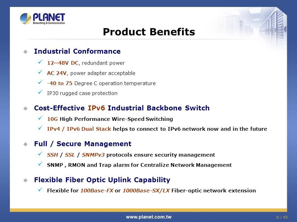 Product Benefits Industrial Conformance
