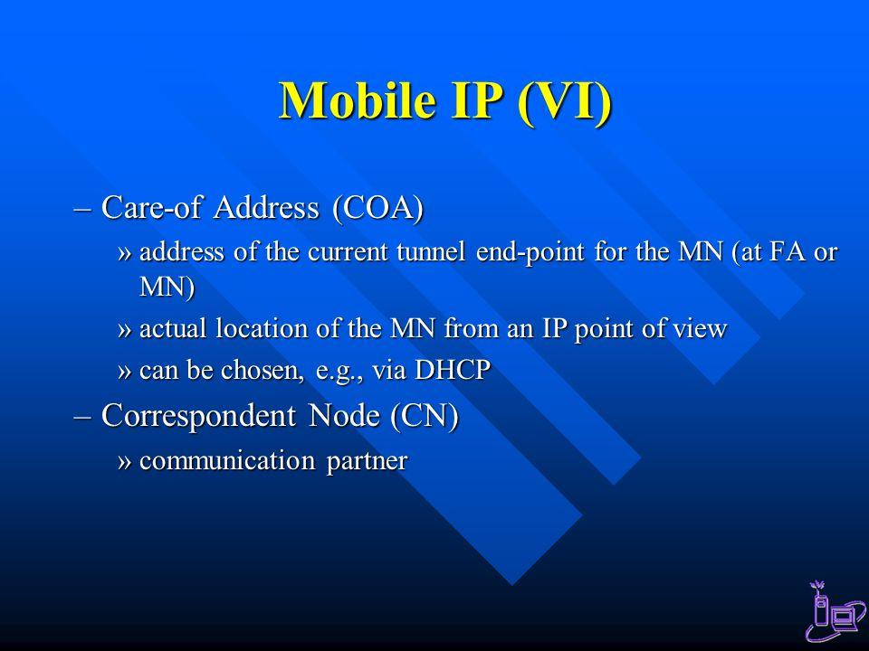 Mobile IP (VI) Care-of Address (COA) Correspondent Node (CN)