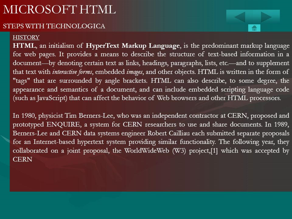 MICROSOFT HTML STEPS WITH TECHNOLOGICA