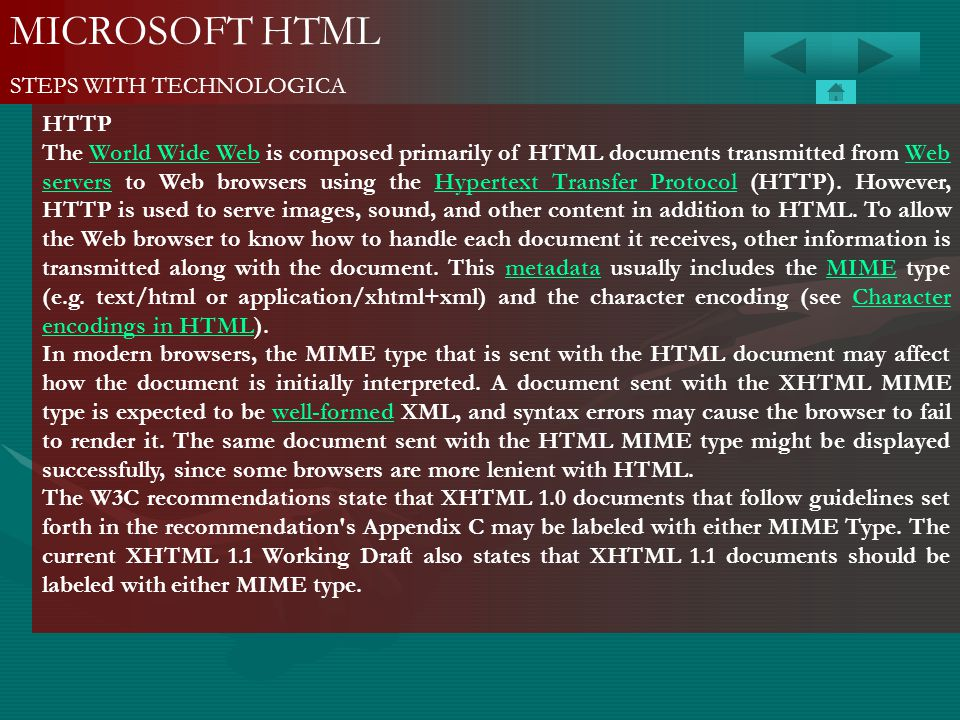 MICROSOFT HTML STEPS WITH TECHNOLOGICA HTTP