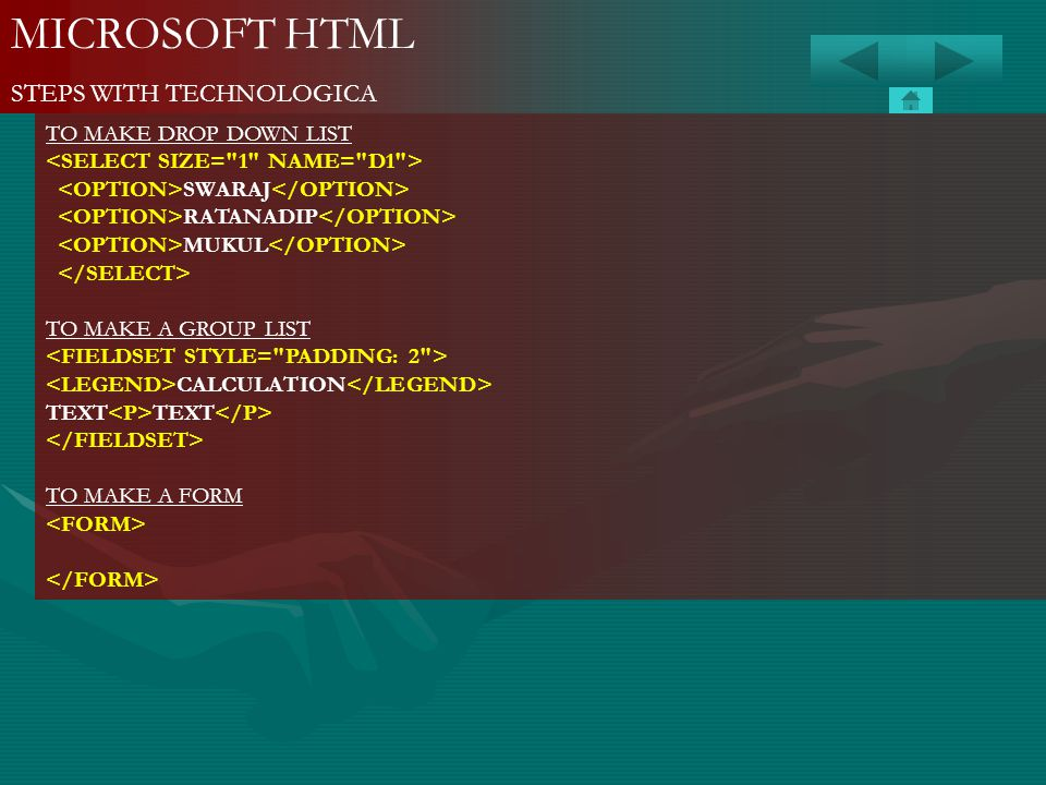MICROSOFT HTML STEPS WITH TECHNOLOGICA TO MAKE DROP DOWN LIST