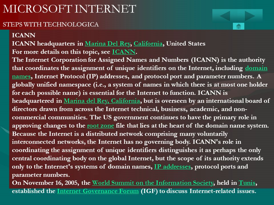 MICROSOFT INTERNET STEPS WITH TECHNOLOGICA ICANN