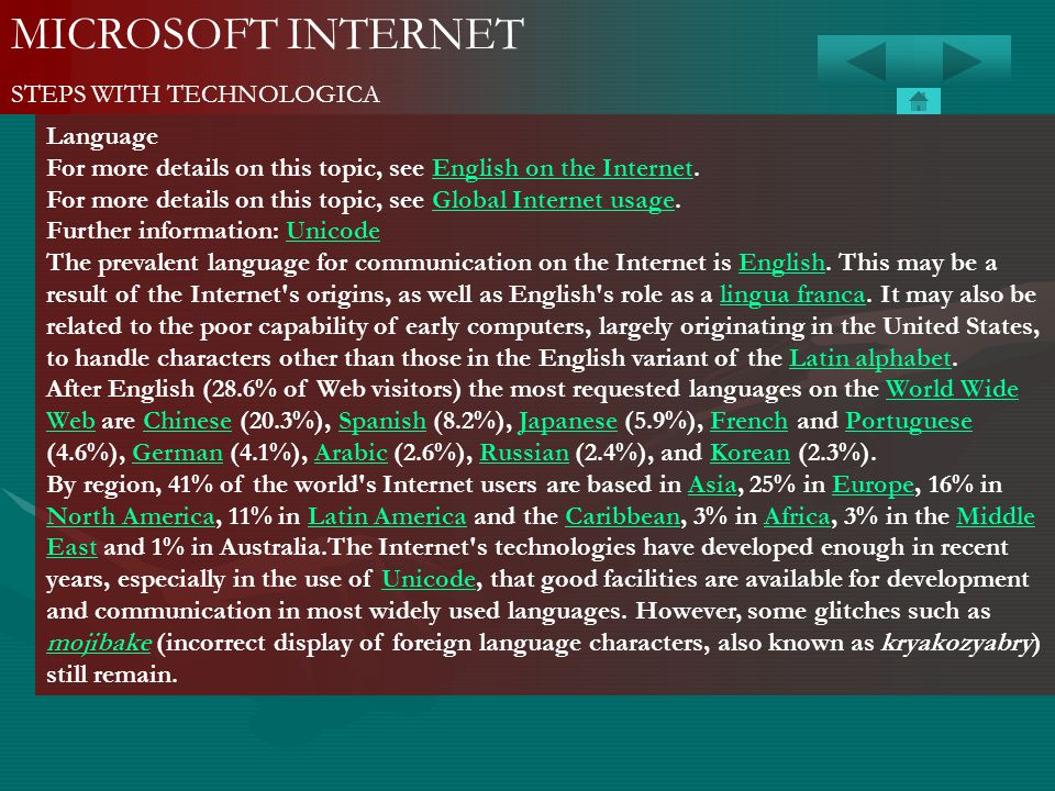 MICROSOFT INTERNET STEPS WITH TECHNOLOGICA Language