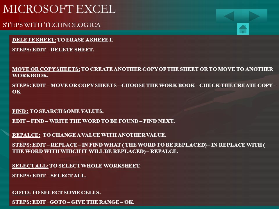 MICROSOFT EXCEL STEPS WITH TECHNOLOGICA