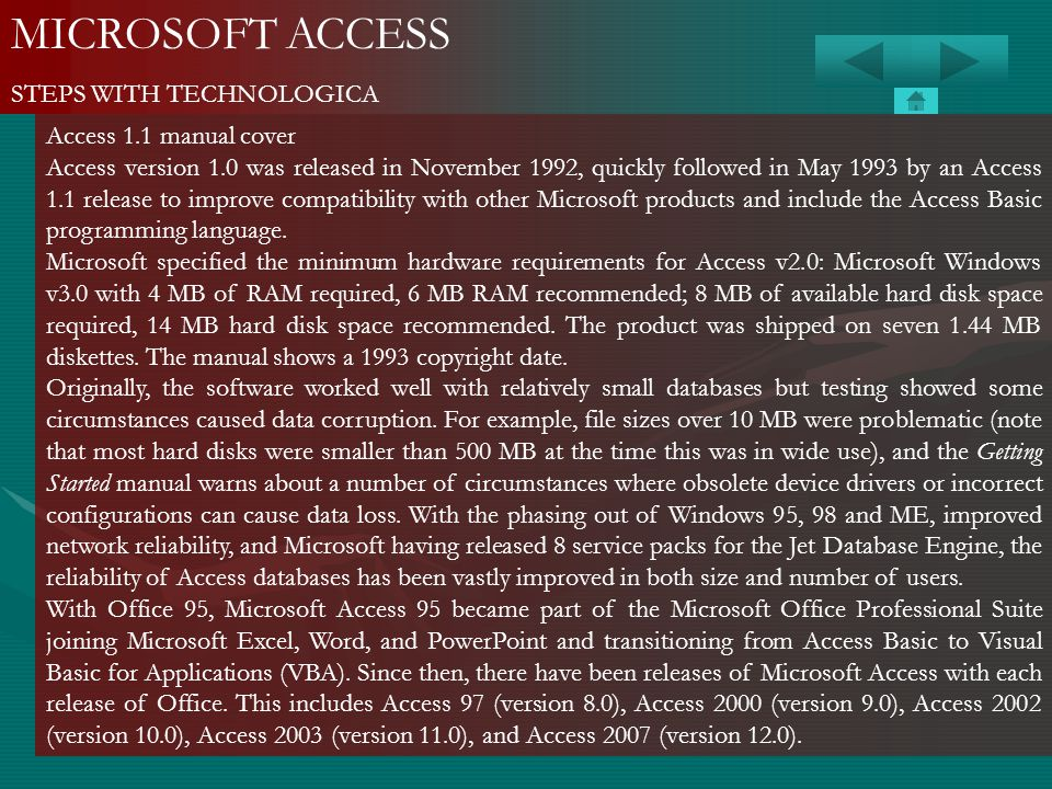 MICROSOFT ACCESS STEPS WITH TECHNOLOGICA Access 1.1 manual cover
