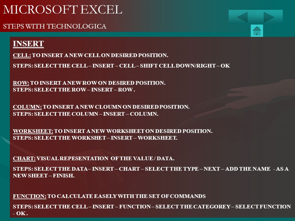 MICROSOFT EXCEL INSERT STEPS WITH TECHNOLOGICA