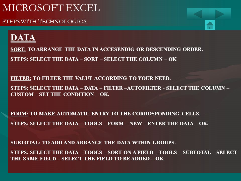 MICROSOFT EXCEL DATA STEPS WITH TECHNOLOGICA