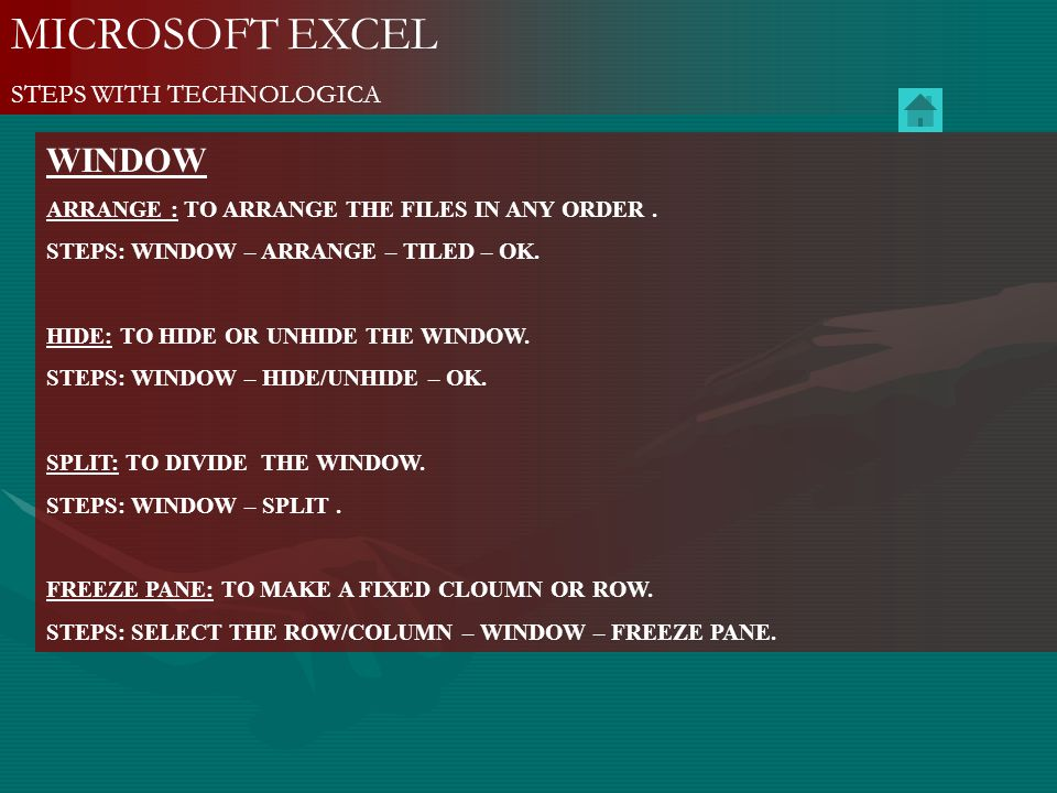 MICROSOFT EXCEL WINDOW STEPS WITH TECHNOLOGICA