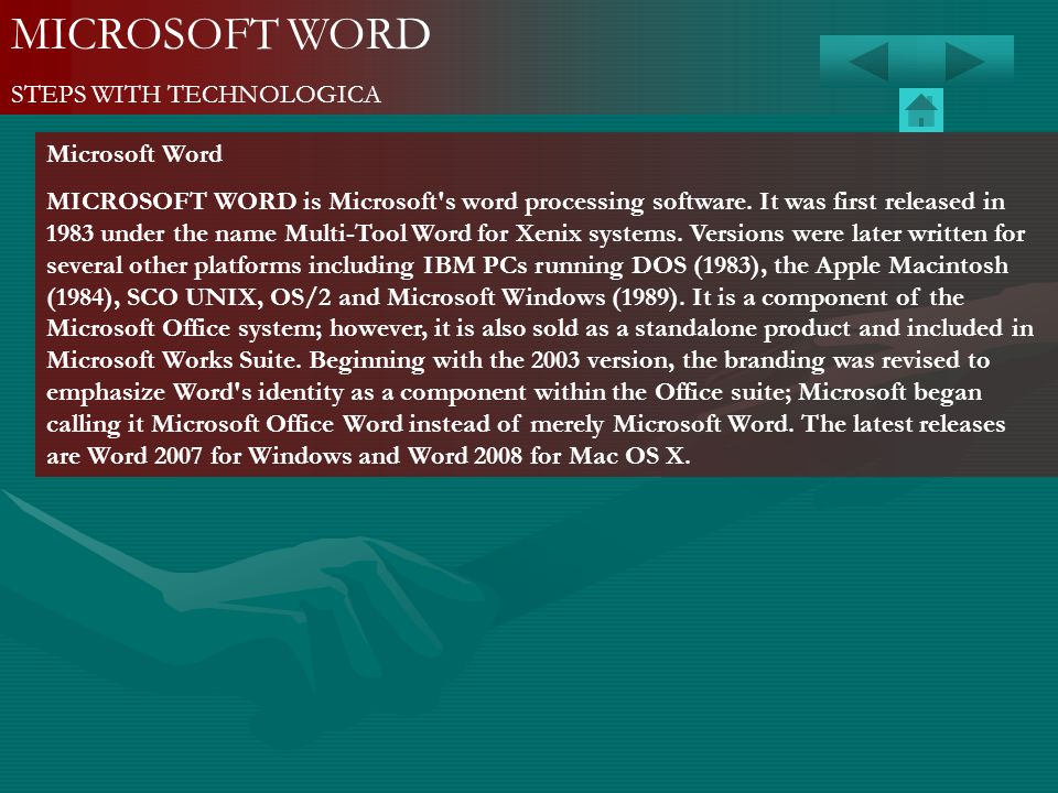 MICROSOFT WORD STEPS WITH TECHNOLOGICA Microsoft Word