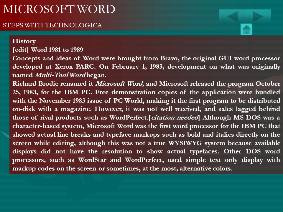 MICROSOFT WORD STEPS WITH TECHNOLOGICA History