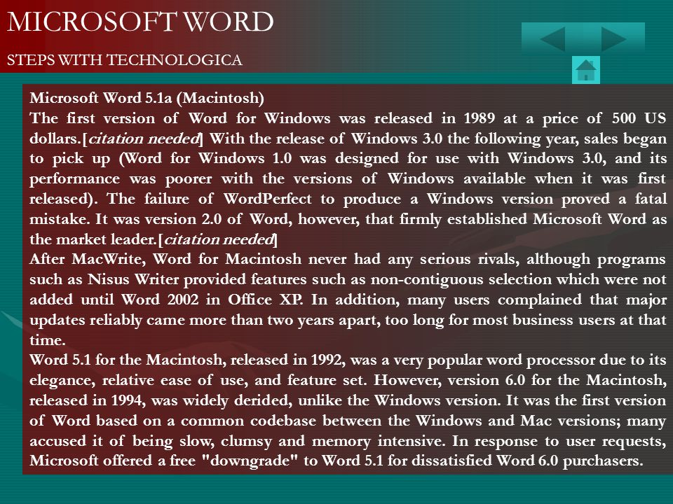 MICROSOFT WORD STEPS WITH TECHNOLOGICA Microsoft Word 5.1a (Macintosh)