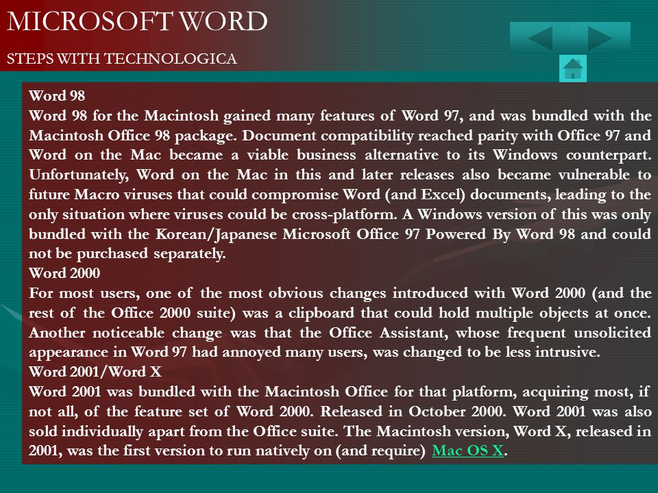 MICROSOFT WORD STEPS WITH TECHNOLOGICA Word 98