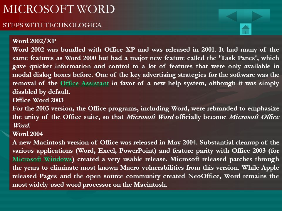 MICROSOFT WORD STEPS WITH TECHNOLOGICA Word 2002/XP