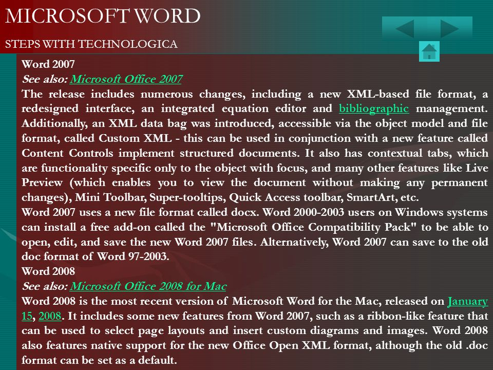 MICROSOFT WORD STEPS WITH TECHNOLOGICA Word 2007