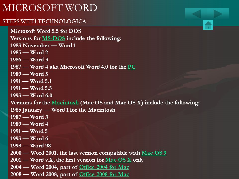 MICROSOFT WORD STEPS WITH TECHNOLOGICA Microsoft Word 5.5 for DOS