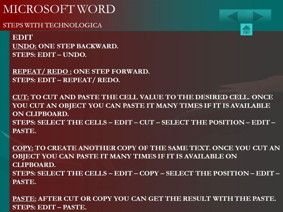 MICROSOFT WORD EDIT STEPS WITH TECHNOLOGICA UNDO: ONE STEP BACKWARD.