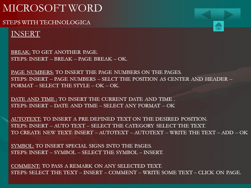 MICROSOFT WORD INSERT STEPS WITH TECHNOLOGICA