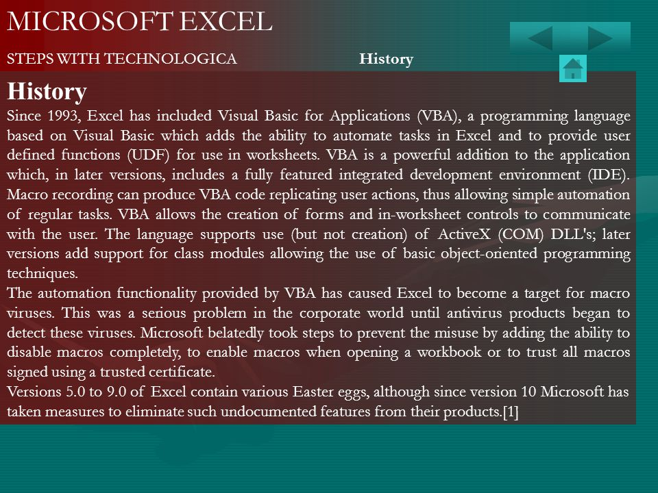 MICROSOFT EXCEL History STEPS WITH TECHNOLOGICA History