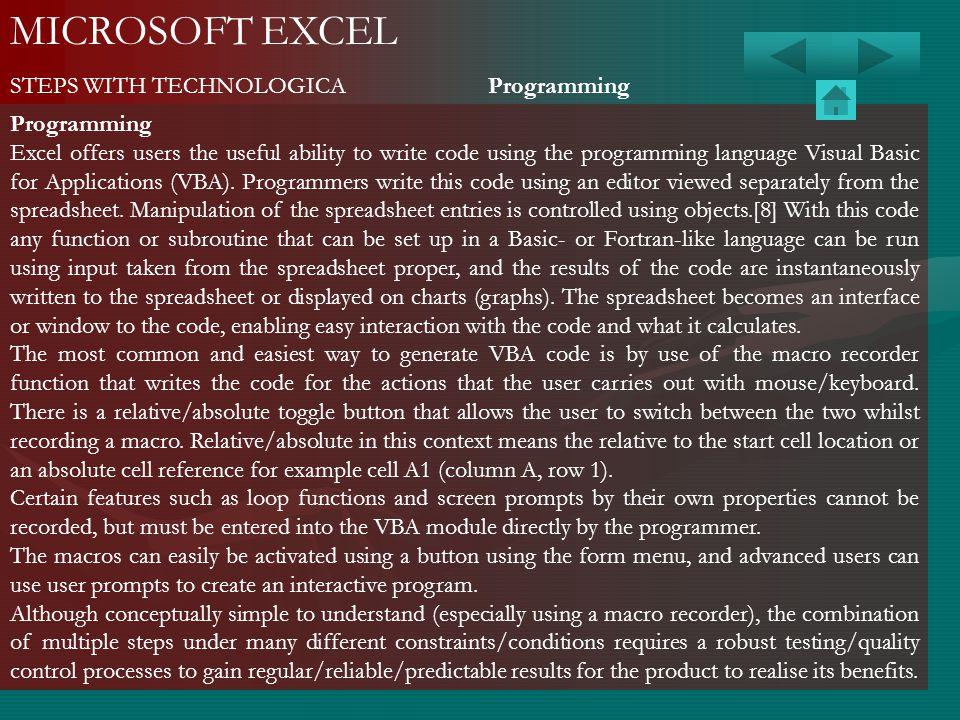 MICROSOFT EXCEL STEPS WITH TECHNOLOGICA Programming Programming