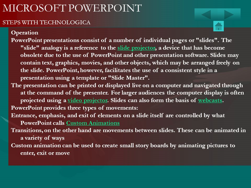 MICROSOFT POWERPOINT STEPS WITH TECHNOLOGICA Operation