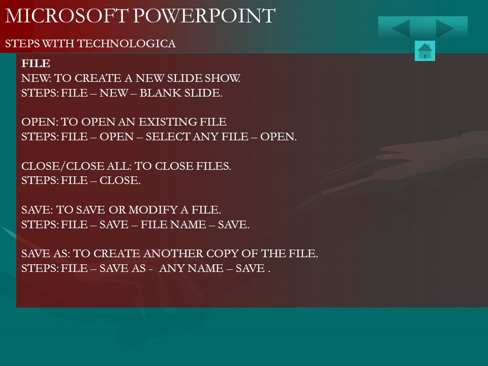 MICROSOFT POWERPOINT STEPS WITH TECHNOLOGICA FILE