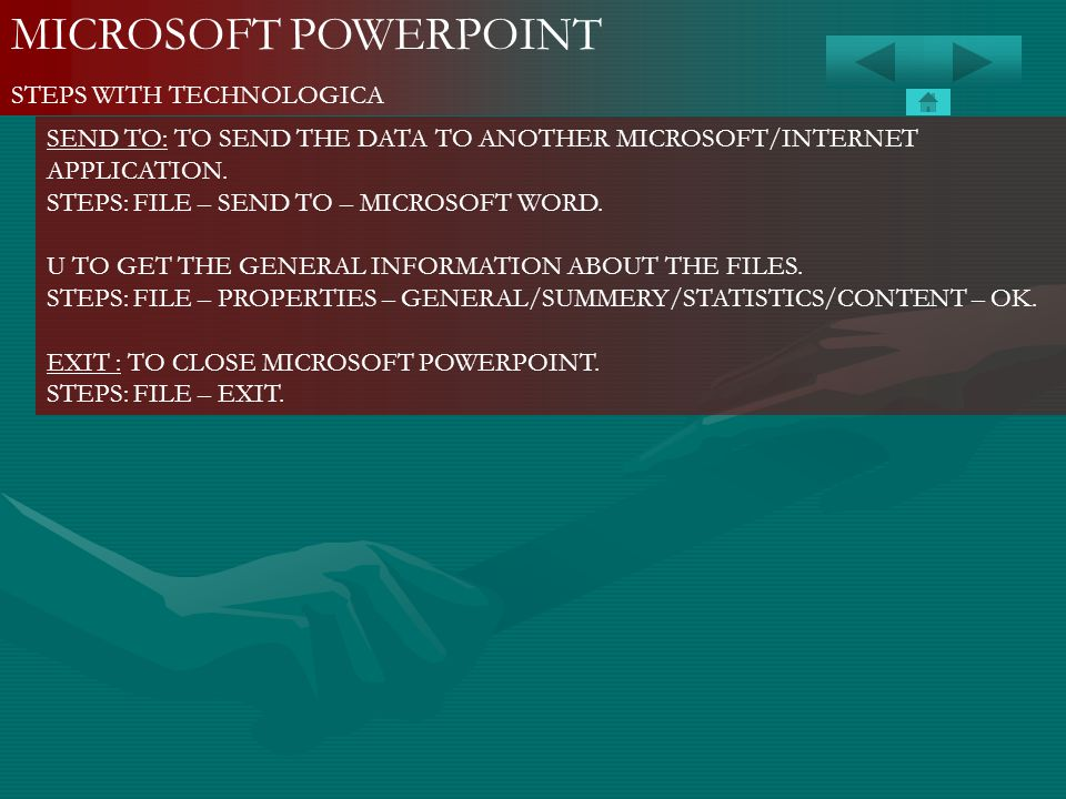 MICROSOFT POWERPOINT STEPS WITH TECHNOLOGICA