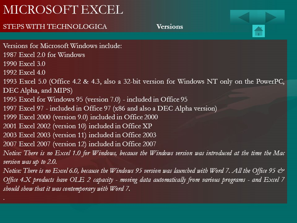 MICROSOFT EXCEL STEPS WITH TECHNOLOGICA Versions