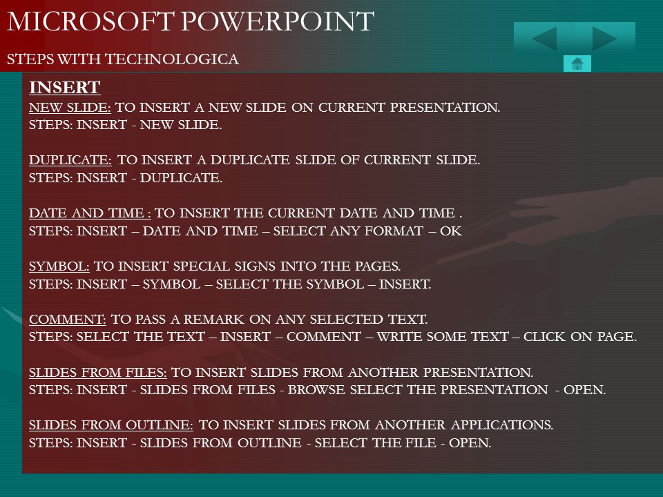 MICROSOFT POWERPOINT INSERT STEPS WITH TECHNOLOGICA