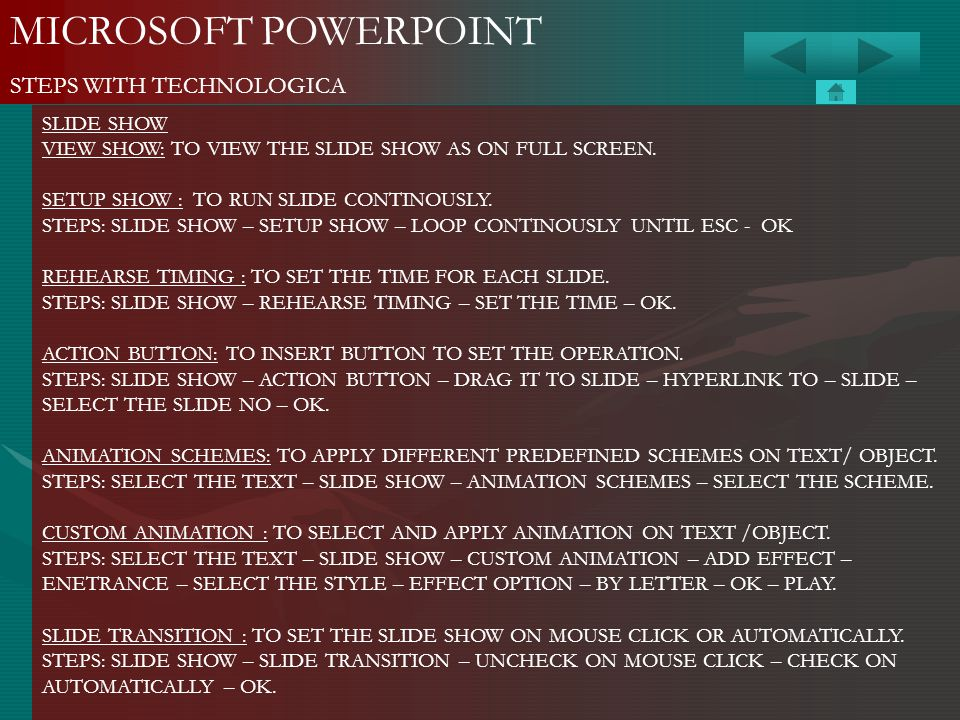 MICROSOFT POWERPOINT STEPS WITH TECHNOLOGICA SLIDE SHOW