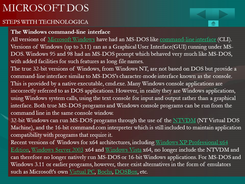 MICROSOFT DOS STEPS WITH TECHNOLOGICA