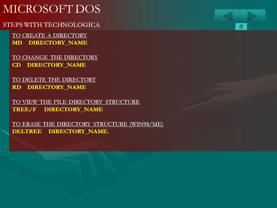 MICROSOFT DOS STEPS WITH TECHNOLOGICA TO CREATE A DIRECTORY