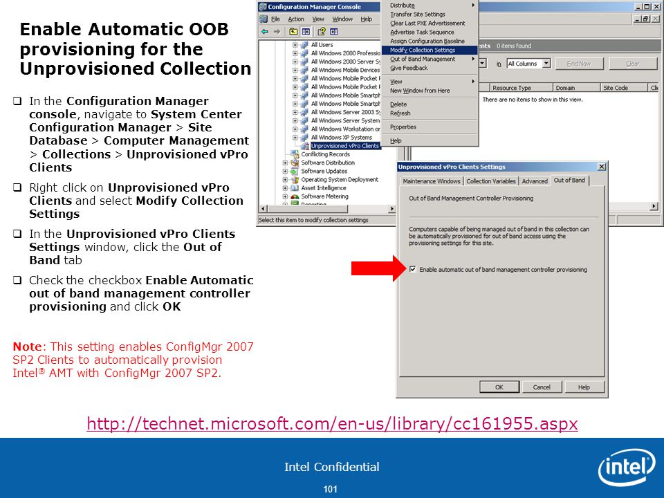 Enable Automatic OOB provisioning for the Unprovisioned Collection