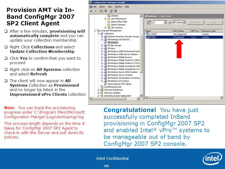 Provision AMT via In-Band ConfigMgr 2007 SP2 Client Agent