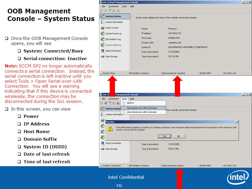 OOB Management Console – System Status