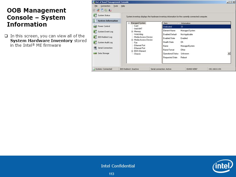 OOB Management Console – System Information