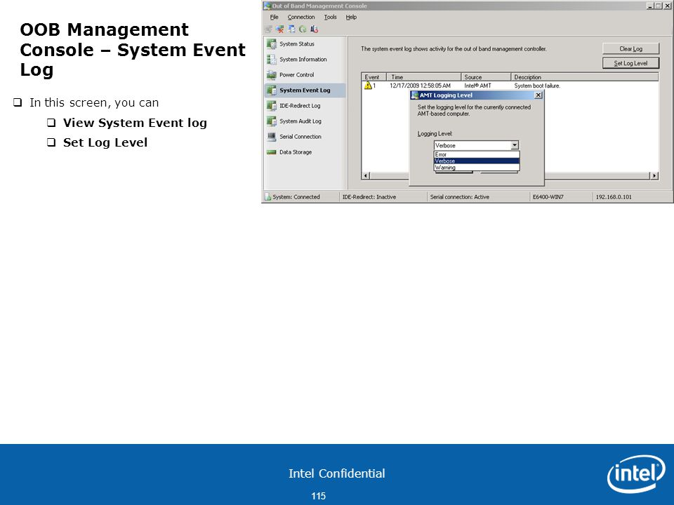 OOB Management Console – System Event Log