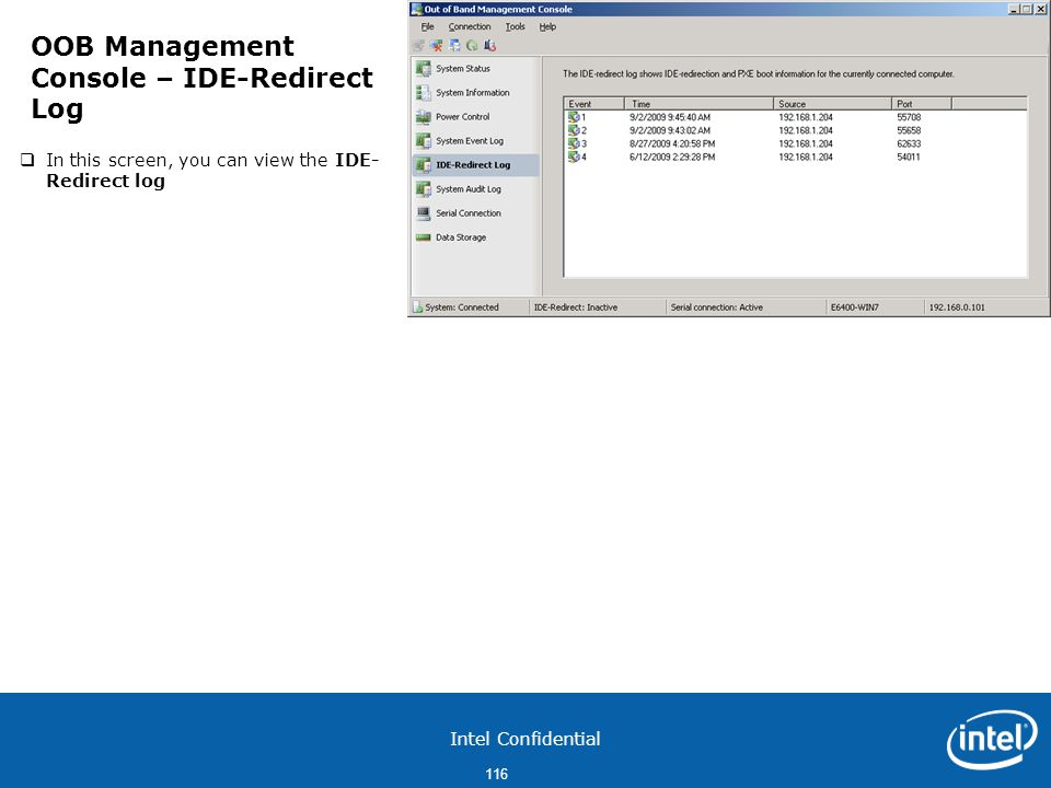 OOB Management Console – IDE-Redirect Log