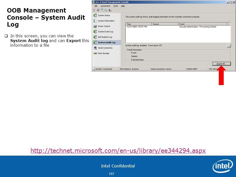 OOB Management Console – System Audit Log