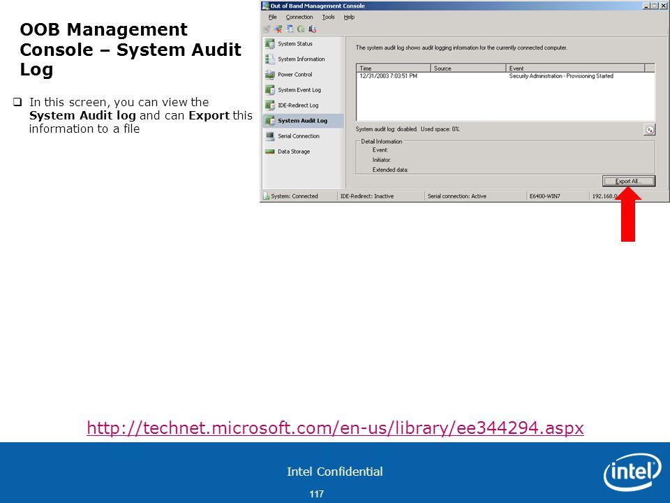 OOB Management Console – System Audit Log