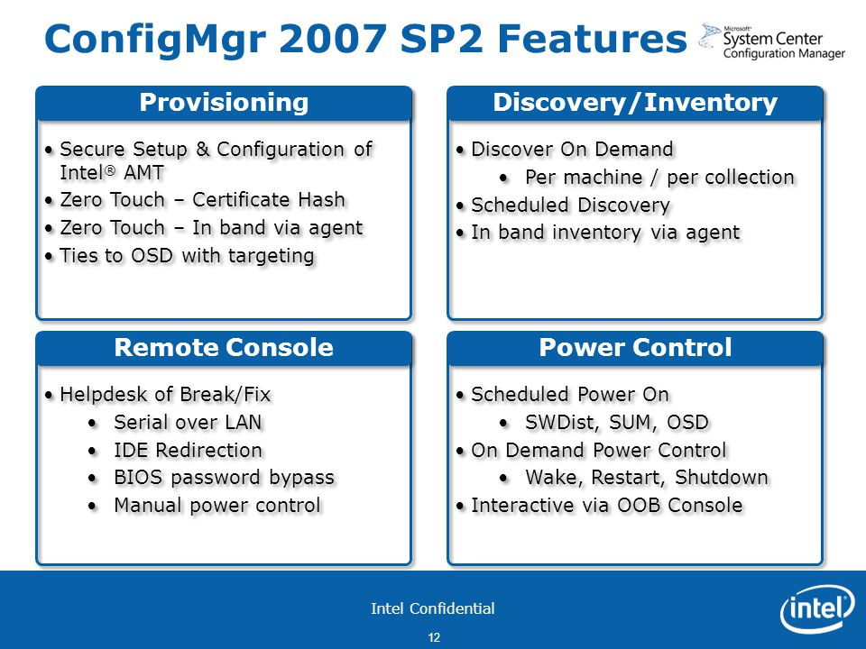 ConfigMgr 2007 SP2 Features Provisioning Discovery/Inventory