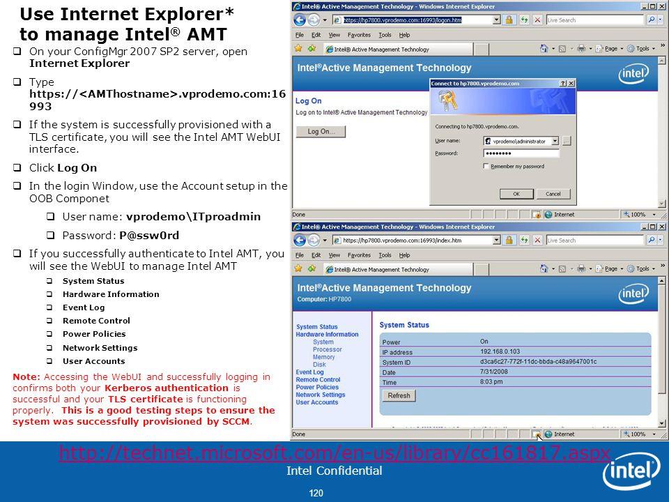 Use Internet Explorer* to manage Intel® AMT